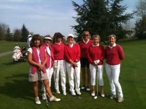 De gauche à droite: Dominique Fritz, Brigitte Escourrou, Françoise Legoubey, capitaine, Marie-France Cauvin, Marianne Miossec, Martine Dumont, Sophie Lemens